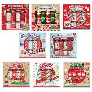 6 Pack Novelty Game Christmas Crackers - Choose Design