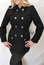 Calvin Klein Trench Coat Rain Coat Black Silver Plus 2X