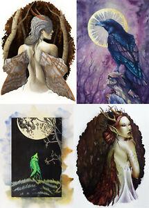 Dark Alternative Fairy PAGAN Goth CARD Raven WOLF
