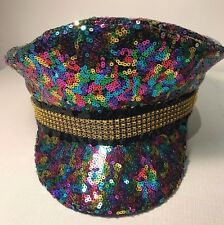 Glamorous Rainbow Sequin Festival Military Captain's Hat Glastonbury. Gay Pride.