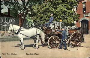 Taunton MA Horse Drawn Fire Engine Weir Fire Station c1910 Postcard