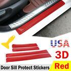 Parts Accessories Carbon Fiber Red Car Door Sill Scuff Plate Sticker Protector