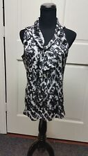 Violet & Claire Black & white tie dye look tie in front dressy sleeveless s