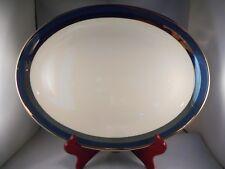"Vintage China Oval Serving Platter (13"") Gorham, Contessa Pattern Peacock Blue"