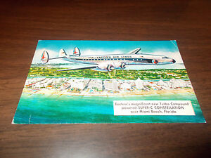 1950s Eastern Airlines Advertising Postcard /Super-C Constellation Over Miami