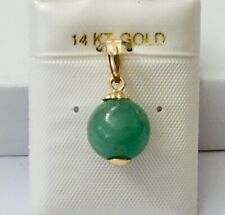 NEW 14K Yellow Gold  Natural Round Ball Adventure Jade Pendant For Necklace