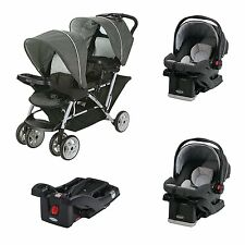Graco DuoGlider Click Connect Double Stroller + Car Seats & Base Travel System