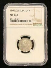 INDIA 1/4 Rupee 1862 C, NGC MS 63+ Choice UNC, Superb Blast White Surfaces