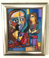 Figures Cubism Picasso Modern Contemporary Original Painting MBollen Blues Red