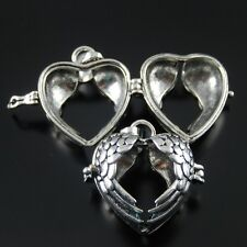 39909 Antique Siver Alloy Wings Heart Locket Pendants Charms Carfts 2Pcs
