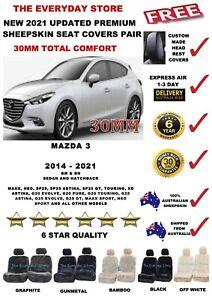 Mazda 3 BN/BM 2014-2021 Premium Sheepskin Seat Covers Pair Airbag Safe 30MM