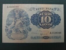 More details for estonia 1937, 10 krooni collectable banknote. vf