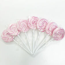 15 PINK AND WHITE WHEEL POPS  RETRO ROCK CANDY BABY SHOWER WEDDING FAVOUR LOLLYY
