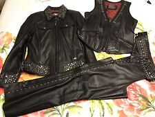 Harley Davidson Womens Roxy Bling Black Leather Jacket, Vest & Chaps - S
