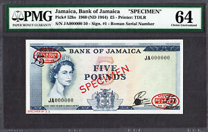 Jamaica 5 Pounds SPECIMEN 1960 (ND 1964) QEII Pick-52bs CH UNC PMG 64