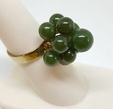 Vintage Estate Sterling Silver Gold Wash Jade Ball Cluster Ring Jewelry Sz 6 1/4
