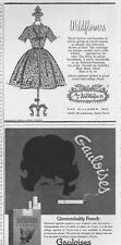 1962 The Villager Dress & Gauloises Cigarettes PRINT AD two great ads 1 price