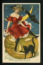 Halloween postcard Winsch 1.2 Artist Schmucker UNLISTED GREEN JOL woman cat RARE