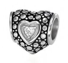Stainless Steel Heart CZ Charm Spacer Bead Fit European Charm Bracelet