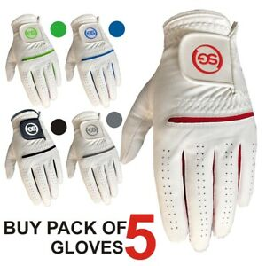 Pack of 5 SG Men All weather Golf Gloves Cabretta leather palm patch and thumb