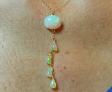 14k solid yellow gold necklace with Ethiopian Fire Opals 5ctw pendant