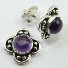 925 Sterling Silver CABOCHON AMETHYST OLD STYLE Stud-Post Earrings 1.0 CM NEW