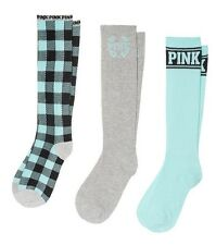 3 Victoria's Secret Pink BLUE Plaid Solid Black Grey Knee-High Socks Gift Set