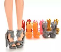 "Barbie Doll 10 Pairs Of High Heel Shoes Lot Random Colors 1"" US Seller"