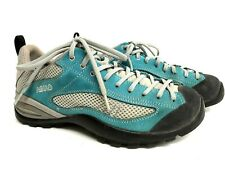 Asolo Men's 7.5 Women's 8.5 Turquoise Blue Gray White Suede Hiking Shoes
