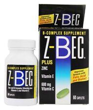 Z-BEC B Complex Supplement Plus Zinc Vitamin E and Vitamin C, 60 Caplets