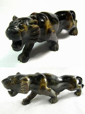 "Antique Handcarved Golden Tiger Eye Gemstone ""Stalking Tiger"" - 18th C India"