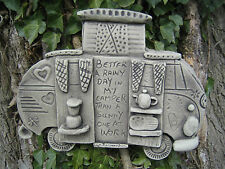 Vw camper (wall plaque) stone garden ornament