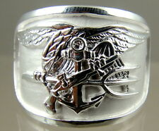 US NAVY Licensed UDT SEAL  HAND MADE RING . 925 STERLING  SIZE 9