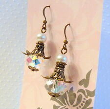 Victorian Vintage Style Clear Crystal White Pearl Lotus Flower Bronze Earrings