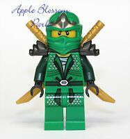 NEW Lego Ninjago GREEN NINJA MINIFIG - Lloyd ZX Minifigure w/2 Gold Swords -9450