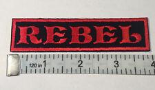 "Custom  Biker Vest Patch ""REBEL""  4""X 1""  RED"