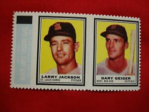 1962 TOPPS STAMP PANEL - LARRY JACKSON & GARY GEIGER - WELL CENTERED & NICE!