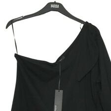 M&S Marks 18 Autograph Luxe Black 1 Sleeve Tie Shoulder Stretch Top Blouse BNWT