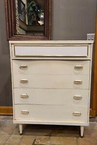 Bassett Mid-Century Modern Chest of Drawers | Tall | White + Gold | Vintage