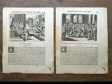 LOT 2 GRAVURES 18e PARABOLES ÉVANGILE MATTH. Talens Noces BIBLE Sacy MERIAN 1770