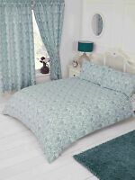 KING SIZE DUVET COVER SET ANNETTE DAMASK FLORAL DUCK EGG TEAL WHITE POLYCOTTON