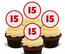 15th Birthday Boy / Girl Edible Cupcake Toppers, Stand-up Fairy Cake Decorations