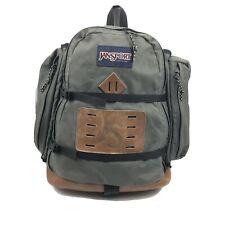 Vintage 80's Jansport Leather Bottom & Logo Olive Green Canvas Backpack Daypack
