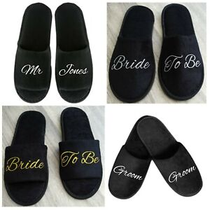 Bride Slippers Personalised Bridesmaid Groom Bridal Party Black White Spa UK