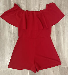 Almost Famous Red Off The Shoulder Romper Juniors Size Large *NEW*