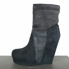 RICK OWENS $1,790 shearling fur high wedge heel pull on leather boots 37 / 7 NEW