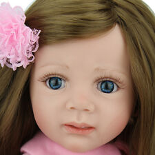 "24""Reborn Baby Doll Long hair Girl Likelife Baby Toy Newborn Toddler kid gift it"