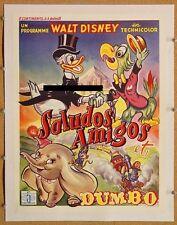 DUMBO, 1941 & SALUDOS AMIGOS, 1943, Scarce 1950s BELGIAN Poster LINEN-BACKED  *