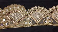 Beautiful Diamante Pearls Gold Bridal Lace Trim Ribbon Craft Sari Border 1 Yard