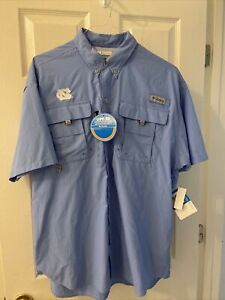 Columbia PFG UNC collegiate Bahama short sleeve fishing shirt  L NWT